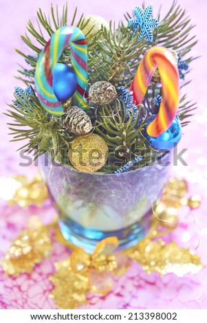 Christmas bouquet with candy canes - stock photo