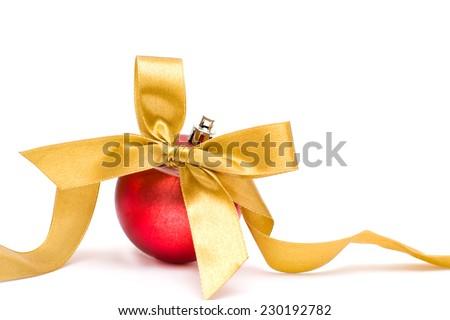 Christmas bow and ball - stock photo