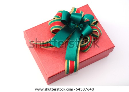 christmas bow on red gift box