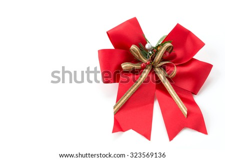 christmas bow on white background