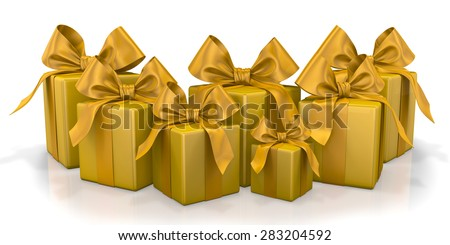 christmas box gold 3d render - stock photo