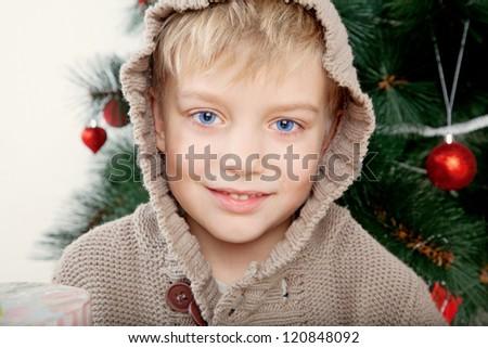 christmas boy portrait, toned image - stock photo