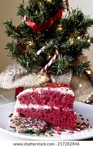 Christmas cake and decoration - stock photo