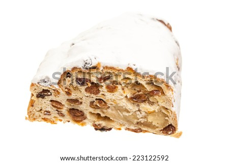 Christmas cake isolated on white background - stock photo