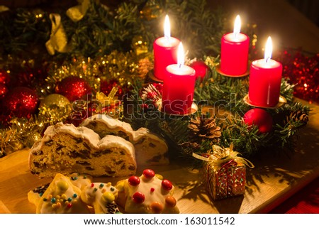 Christmas cake with advent wreath - stock photo