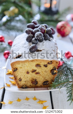 Christmas cake with raisins