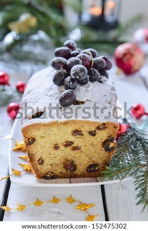 Christmas cake with raisins - stock photo