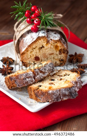 Christmas cake with spices and dried fruits. Christmas stollen with several ingredients