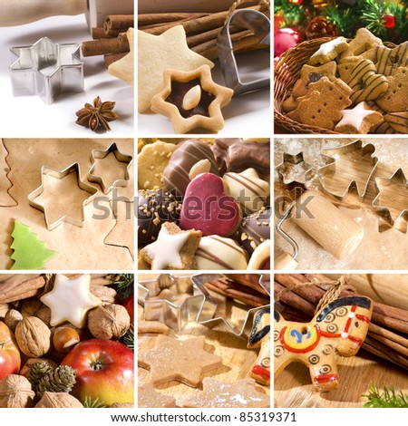 Christmas cakes, spices and baking utensils - stock photo