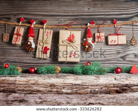 Christmas Calendar, gifts - stock photo