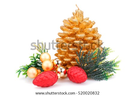 Christmas candle, balls, cones  and  fir tree branches isolated on white background.
