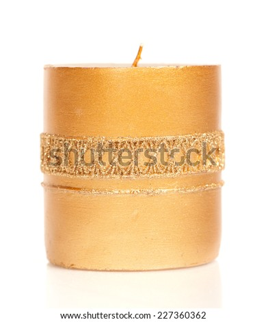 Christmas candle isolated on white background - stock photo