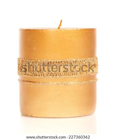 Christmas candle isolated on white background - stock photo