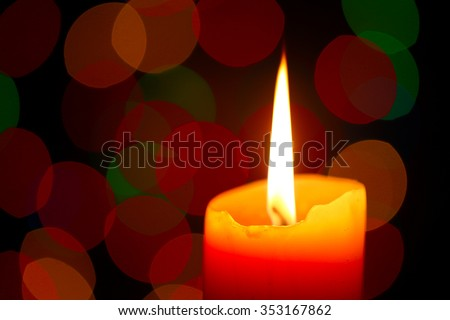 Christmas candle, shallow focus - stock photo