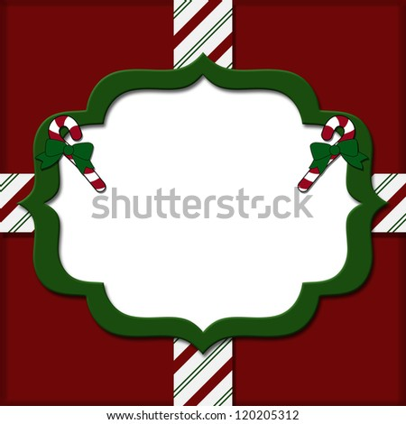 Christmas Candy Cane Striped background for your message or invitation with copy-space - stock photo