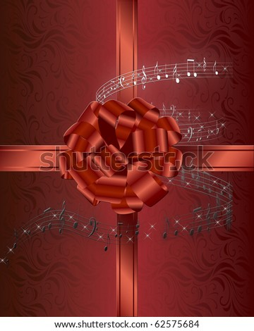 Christmas card background with red ribbon and bow surrounded by musical notes. - stock photo