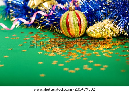 Christmas card. Beautiful background with Christmas decorations - stock photo
