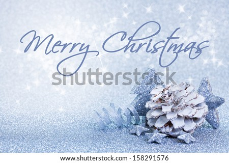 christmas card blue with text merry christmas - stock photo