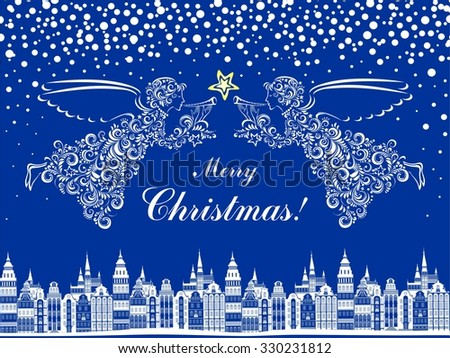 Christmas card. Celebration blue background with Angel, Christmas star and Old city.  illustration - stock photo