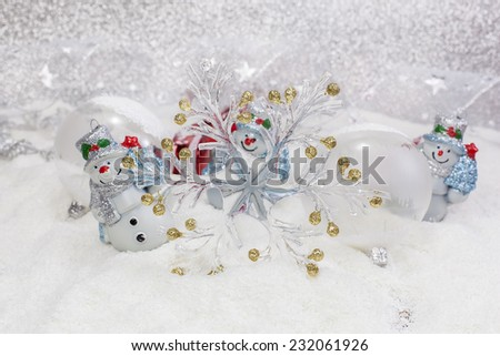 Christmas Card. Cheerful snowman and Christmas tree decorations. Winter background. High key  with shallow depth of field