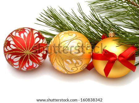 Christmas card. Christmas balls and pine isolated on white background - stock photo