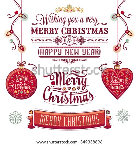 Christmas card. Christmas greeting. Happy new year message. Happy holidays wish. Raster illustration on a white background. Isolated objects. Digital image. - stock photo