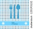 christmas card for restaurant menu, with spoon, knife and fork (Raster version) - stock photo
