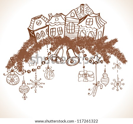 christmas card for xmas design with fur tree, houses and decorations, illustration - stock photo