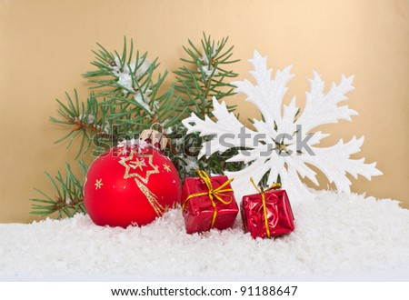 Christmas card on gold background - stock photo