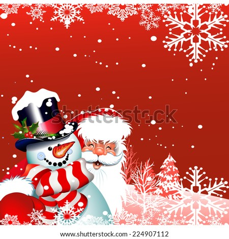 Christmas card Santa Claus and snowman. Happy New Year - stock photo