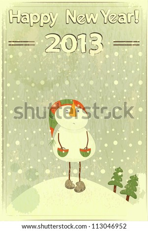 Christmas card - snowman and snow - postcard in retro style - JPEG version