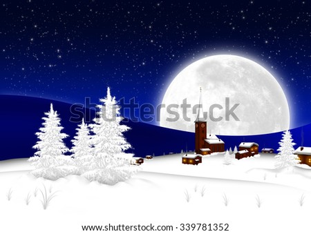 Christmas Card - Snowy Mountain Village with Big Full Moon and Starry Sky Background. Seasonal X-Mas Greeting Card Template for Wishes. Landscape Postcard - Night Sky with Blue Color Gradient - stock photo