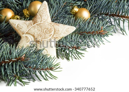 Christmas Card, star and balls