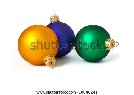 Christmas card. Three spheres on a white background