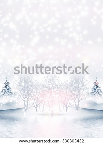 Christmas card. winter Landscape - stock photo