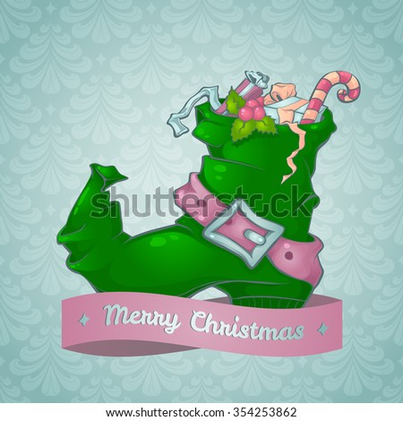 Christmas card with a boot full of gifts - stock photo