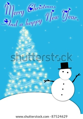 Christmas card with a snowman and a decorated tree in blue and white. - stock photo