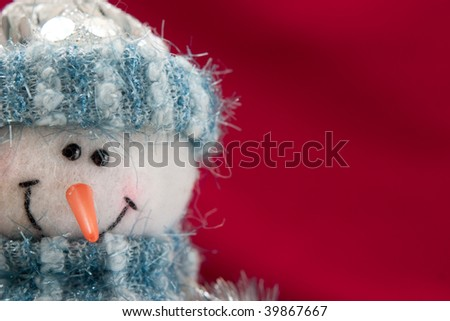 Christmas card with a snowman for congratulations - stock photo