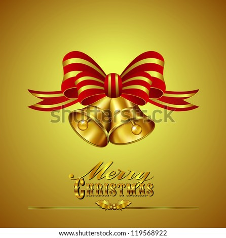 Christmas Card with Bells on Gold background - Raster Version - stock photo