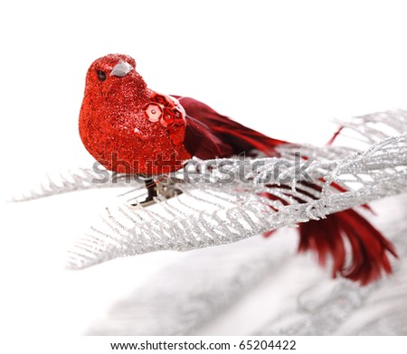 Christmas card with bird and silver tree - stock photo
