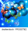 Christmas card with blue spheres and butterflies. - stock photo