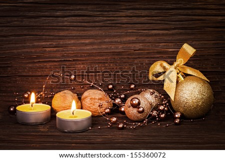 christmas card with candles and christmas decoration  - stock photo