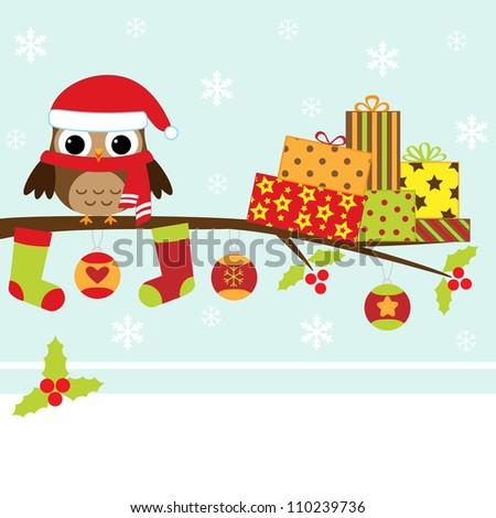 Christmas card with cartoon owl raster version stock photo
