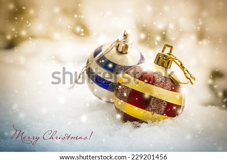 Christmas card with christmas decorations - stock photo