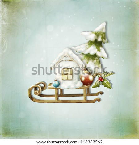 Christmas card with christmas tree, rabbit, house on a sledge - stock photo