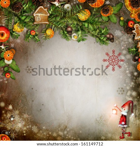 Christmas card with Christmas tree, snowflakes, toys and space for text - stock photo