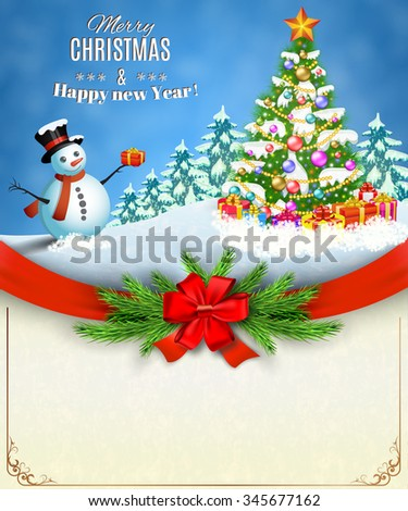Christmas card with Christmas tree with snowmen and gifts. concept for greeting or postal card, illustration  Raster version. - stock photo