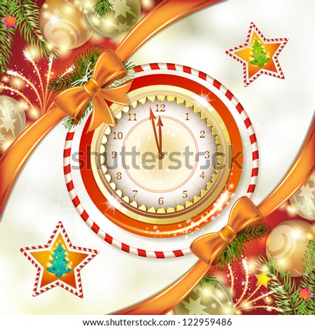 Christmas card with clock and pine tree