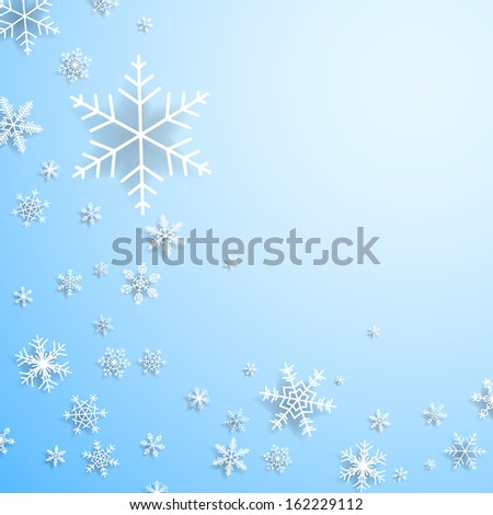 Christmas card with cold snowflakes and shadows