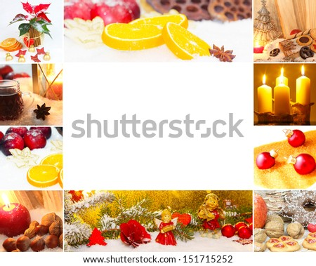 Christmas card with copy space - stock photo